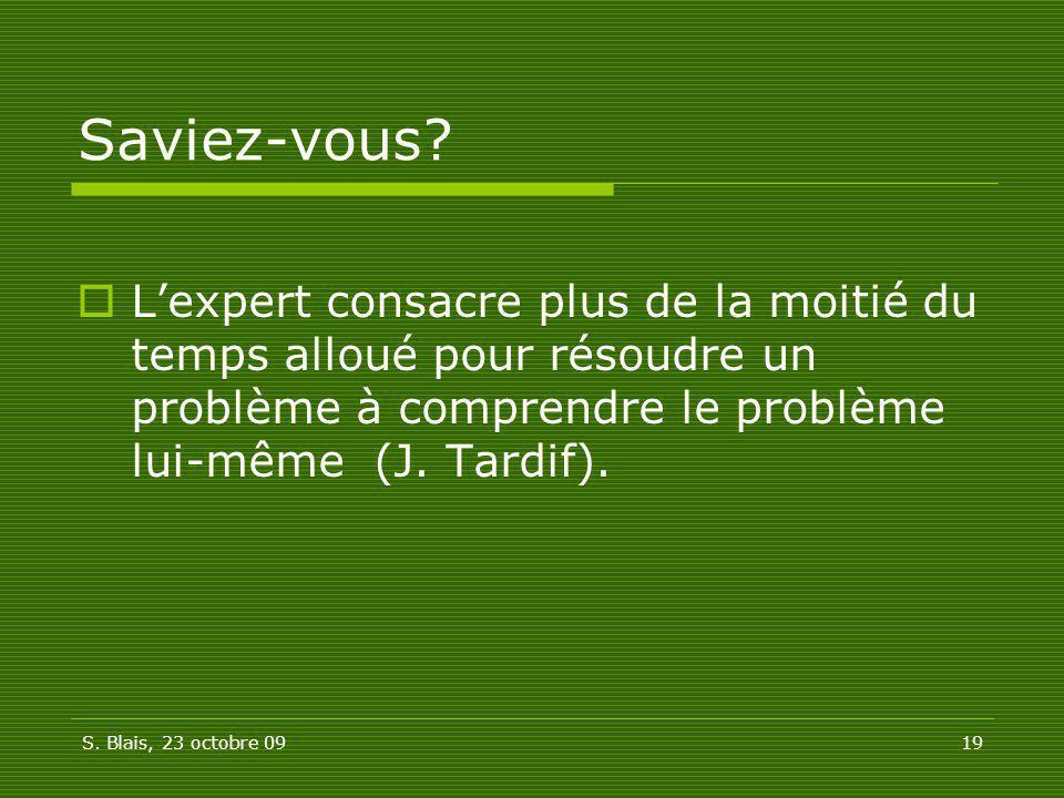 Saviez-vous L'expert consacre plus de la moitié du temps alloué pour résoudre un problème à comprendre le problème lui-même (J. Tardif).