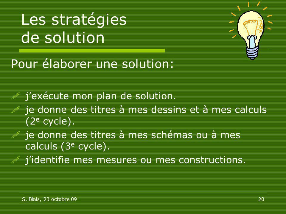 Les stratégies de solution