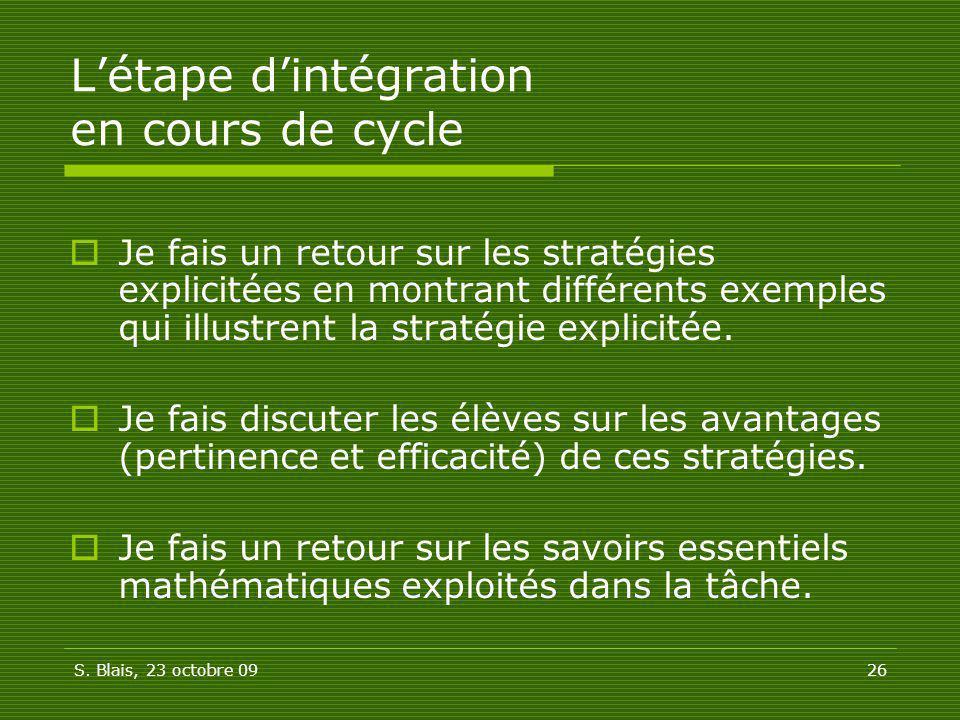 L'étape d'intégration en cours de cycle