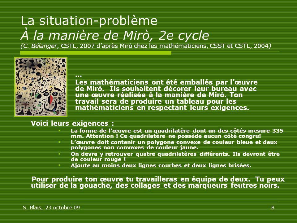 La situation-problème À la manière de Mirò, 2e cycle (C