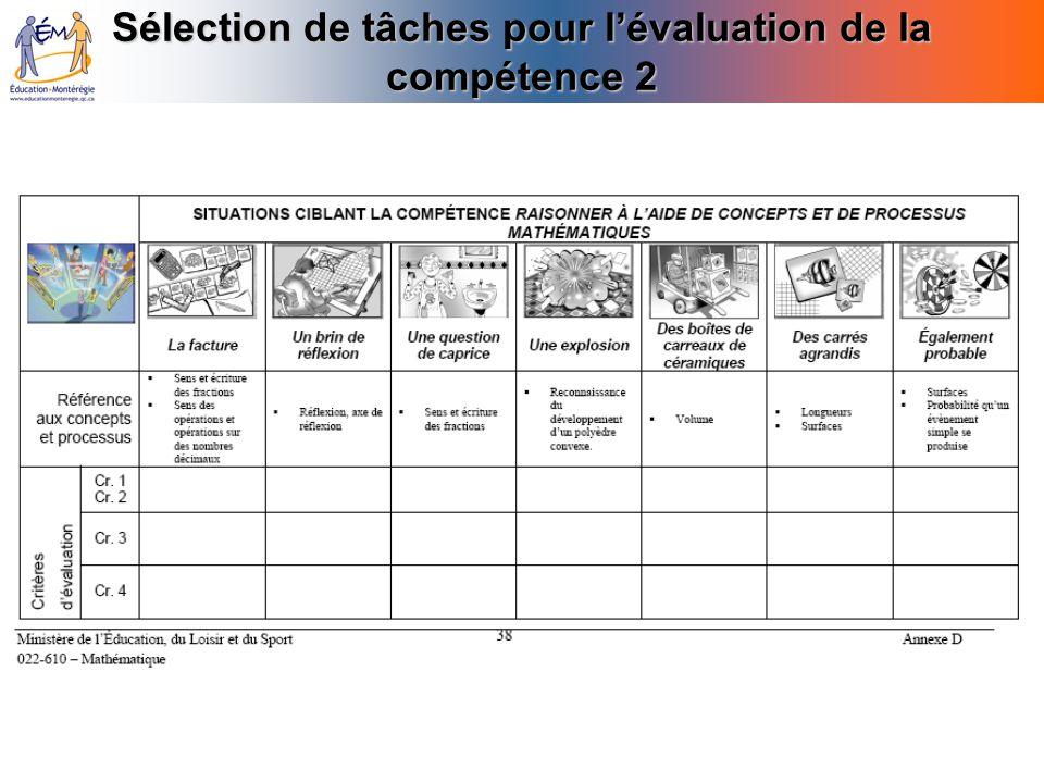 Sélection de tâches pour l'évaluation de la compétence 2