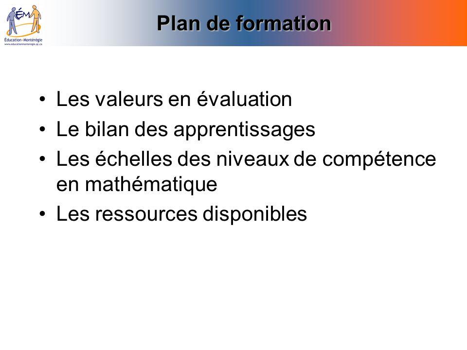 Plan de formation Les valeurs en évaluation. Le bilan des apprentissages. Les échelles des niveaux de compétence en mathématique.