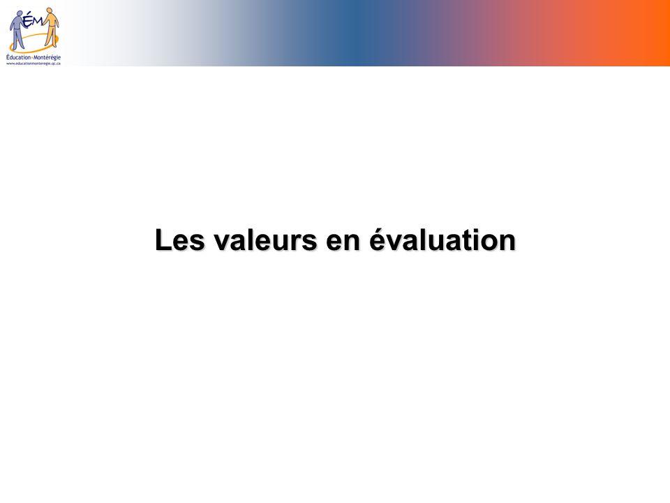 Les valeurs en évaluation