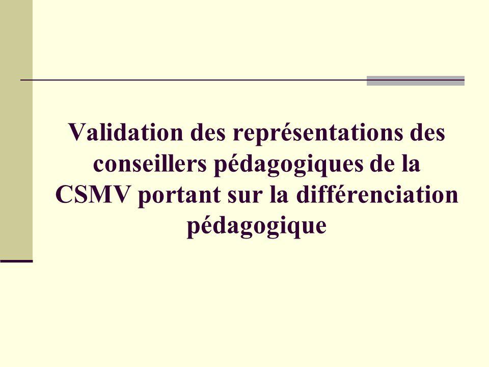 Validation des représentations des conseillers pédagogiques de la CSMV portant sur la différenciation pédagogique