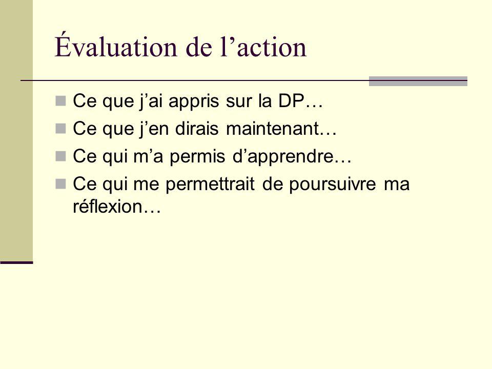 Évaluation de l'action