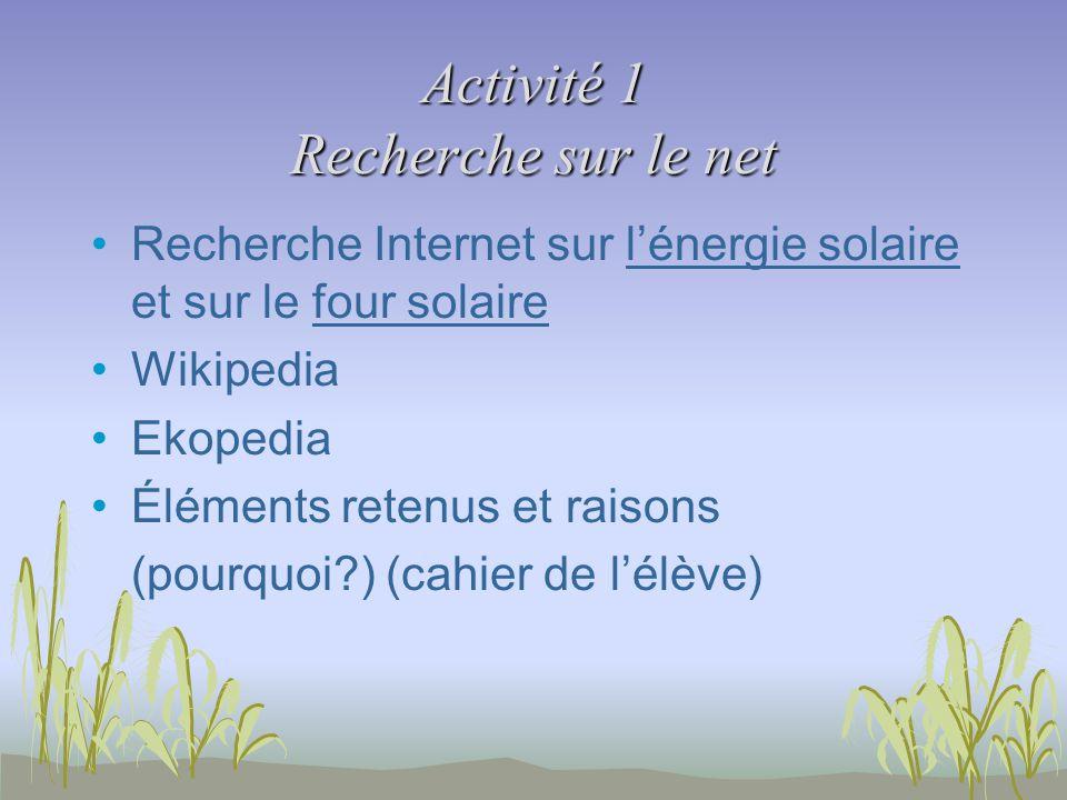 Activité 1 Recherche sur le net