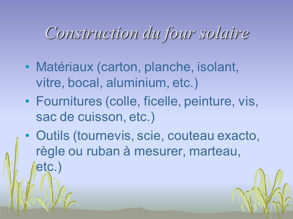 Construction du four solaire