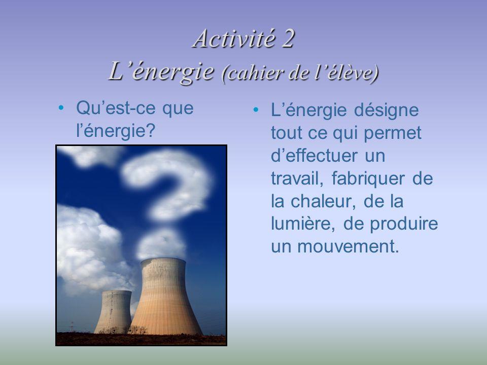 Activité 2 L'énergie (cahier de l'élève)