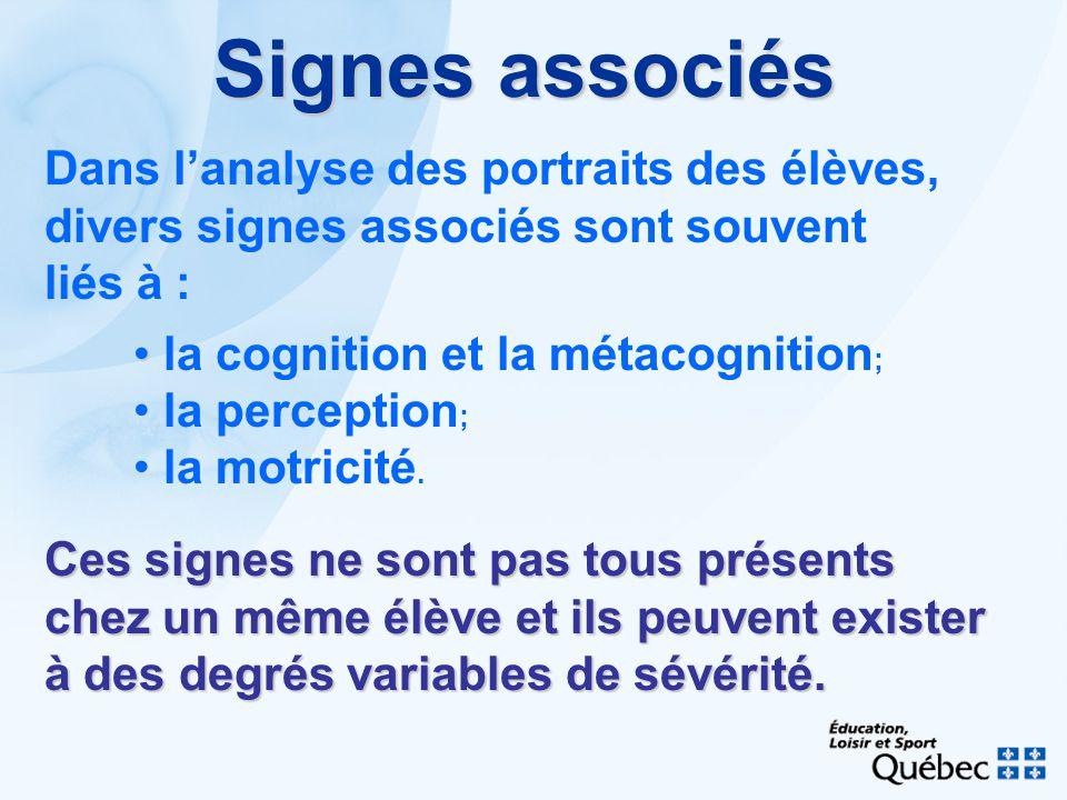 Signes associés Dans l'analyse des portraits des élèves,