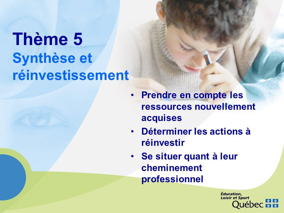 Thème 5 Synthèse et réinvestissement