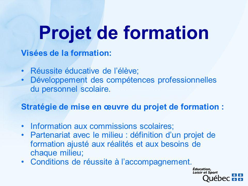 Projet de formation Visées de la formation: