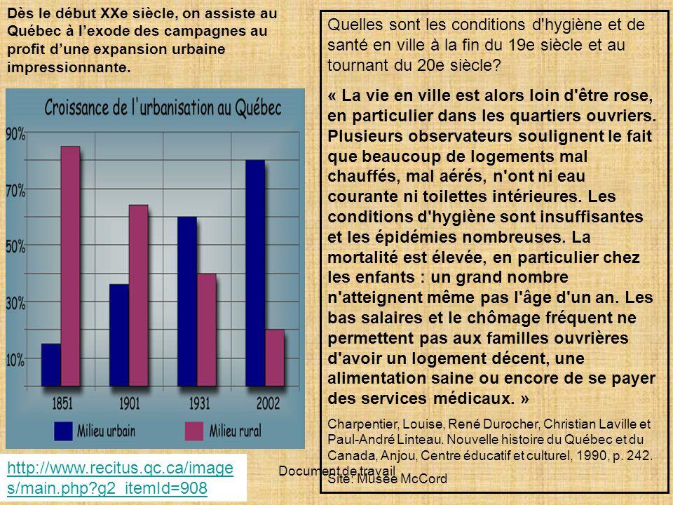 Dès le début XXe siècle, on assiste au Québec à l'exode des campagnes au profit d'une expansion urbaine impressionnante.