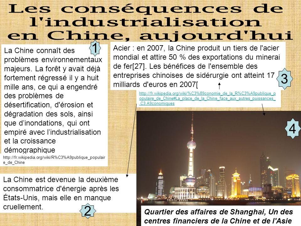 Les conséquences de l industrialisation en Chine, aujourd hui 1 3 4 2