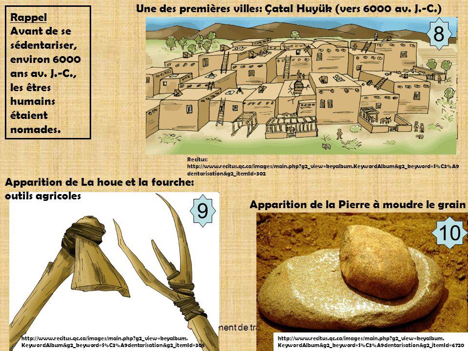 8 9 10 Une des premières villes: Çatal Huyük (vers 6000 av. J.-C.)