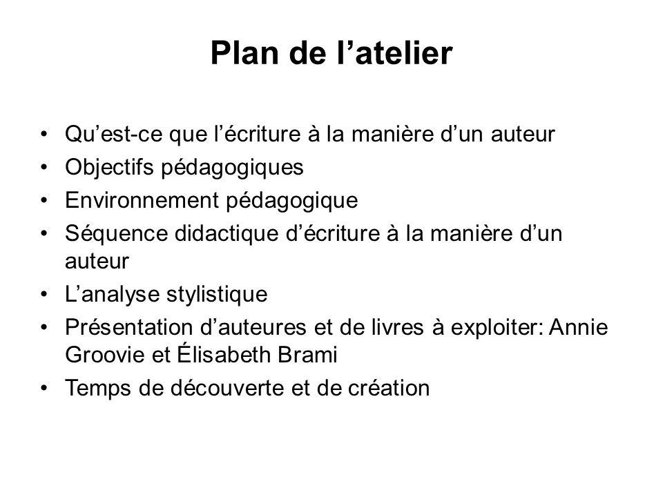 Plan de l'atelier Qu'est-ce que l'écriture à la manière d'un auteur
