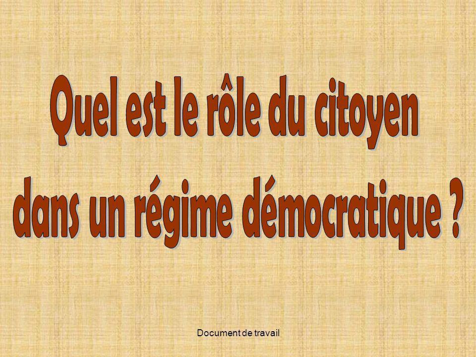 Quel est le rôle du citoyen dans un régime démocratique