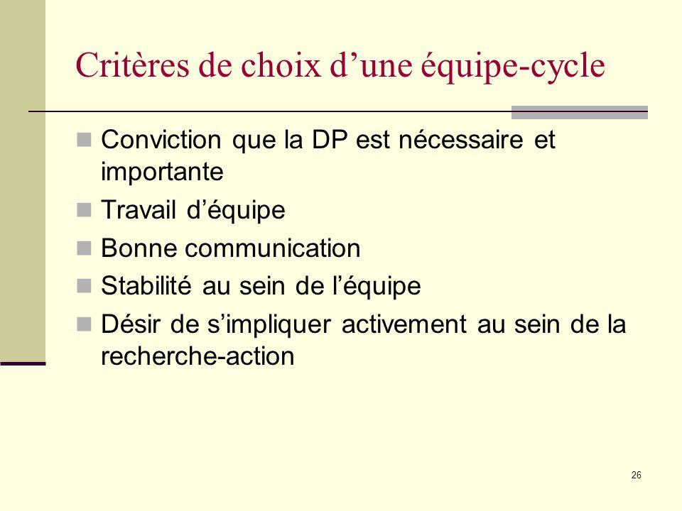 Critères de choix d'une équipe-cycle