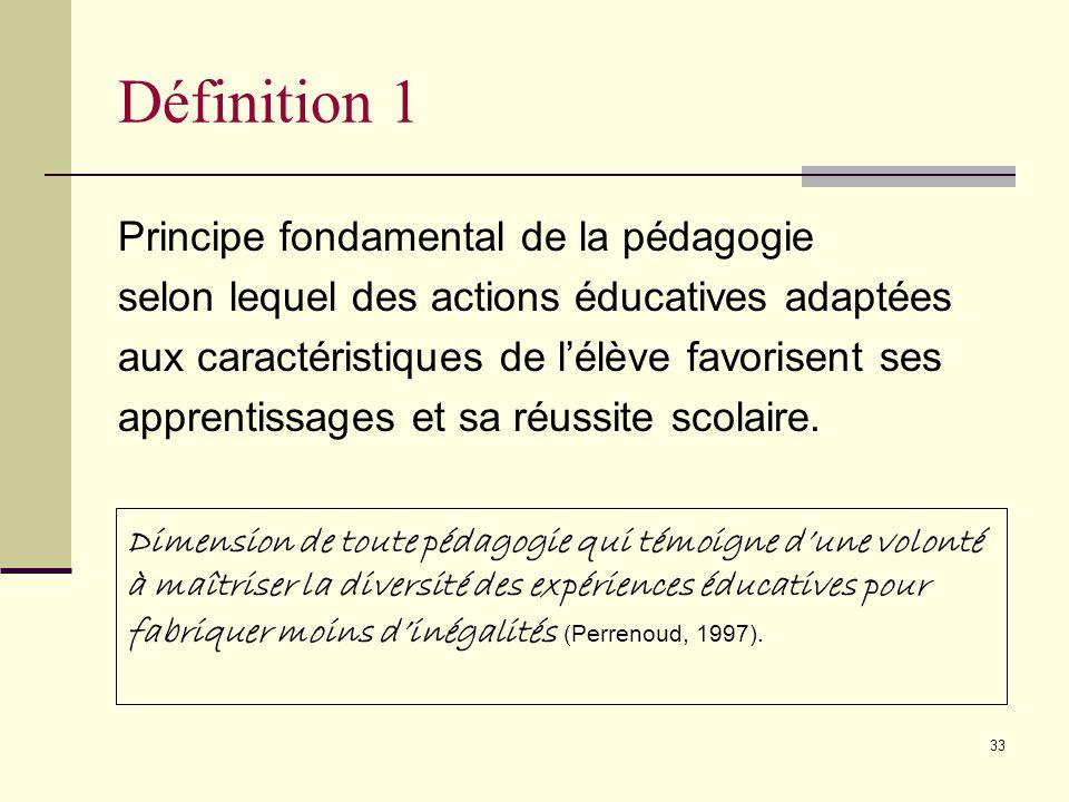Définition 1 Principe fondamental de la pédagogie