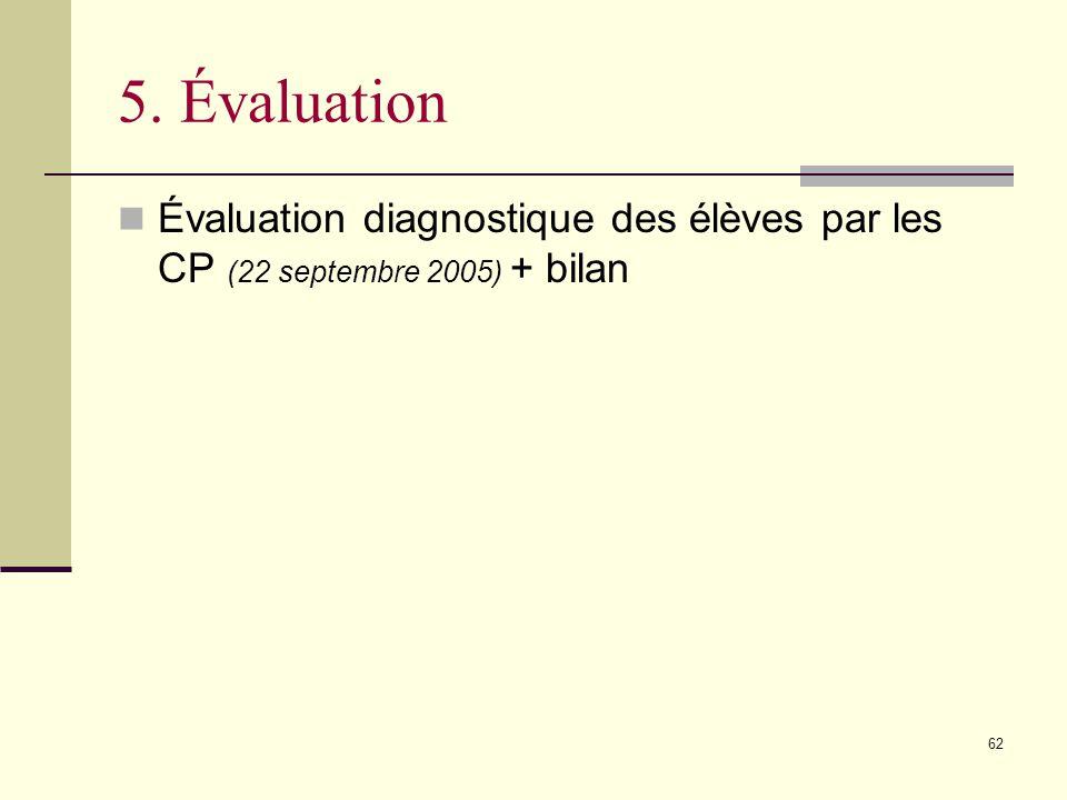 5. Évaluation Évaluation diagnostique des élèves par les CP (22 septembre 2005) + bilan.