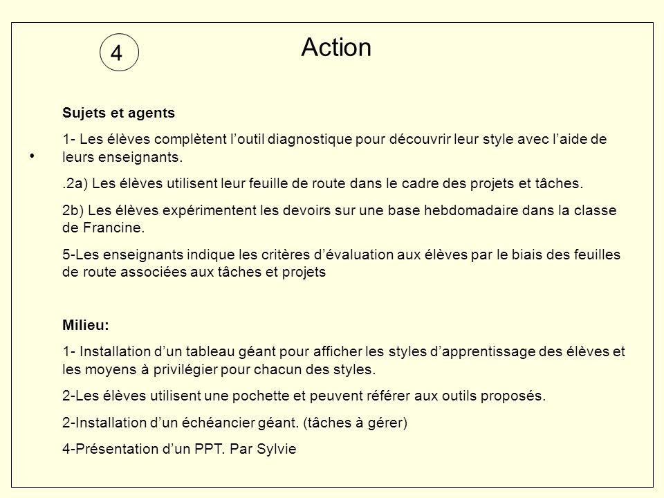 Action 4 Sujets et agents