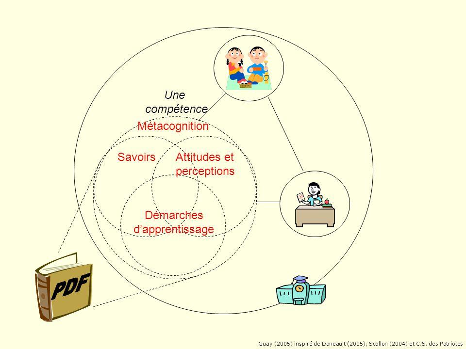 Une compétence Métacognition Savoirs Attitudes et perceptions