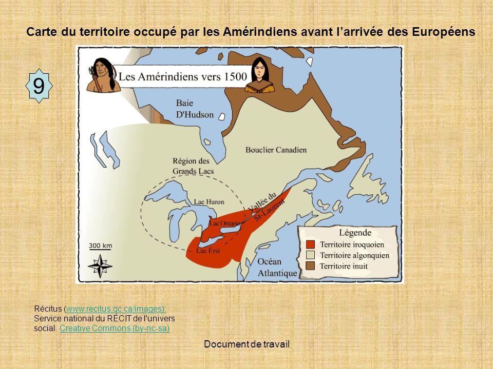 Carte du territoire occupé par les Amérindiens avant l'arrivée des Européens