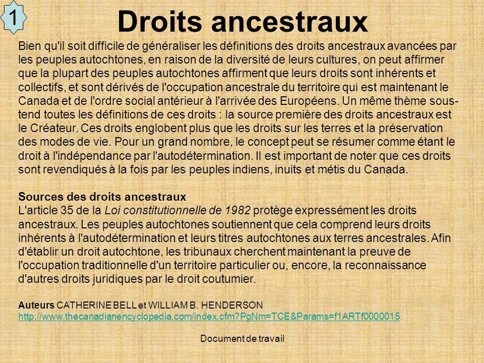 1 Droits ancestraux.