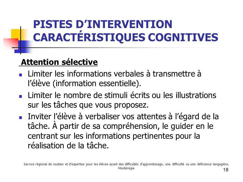 PISTES D'INTERVENTION CARACTÉRISTIQUES COGNITIVES