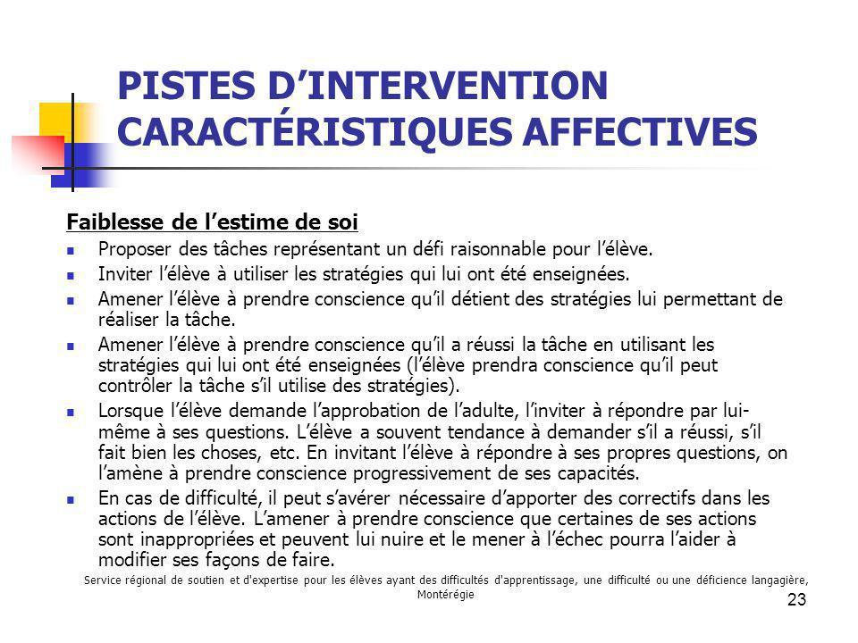 PISTES D'INTERVENTION CARACTÉRISTIQUES AFFECTIVES