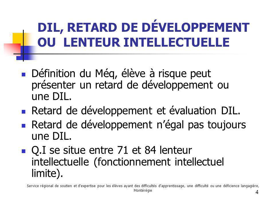DIL, RETARD DE DÉVELOPPEMENT OU LENTEUR INTELLECTUELLE