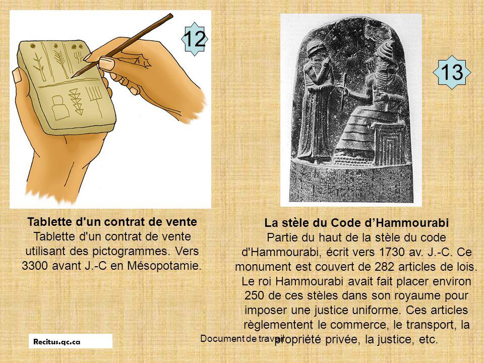 Tablette d un contrat de vente La stèle du Code d'Hammourabi