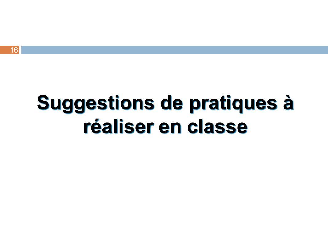 Suggestions de pratiques à réaliser en classe