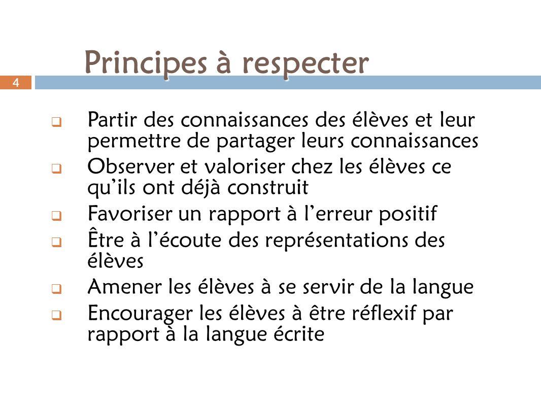 Principes à respecter 4. Partir des connaissances des élèves et leur permettre de partager leurs connaissances.