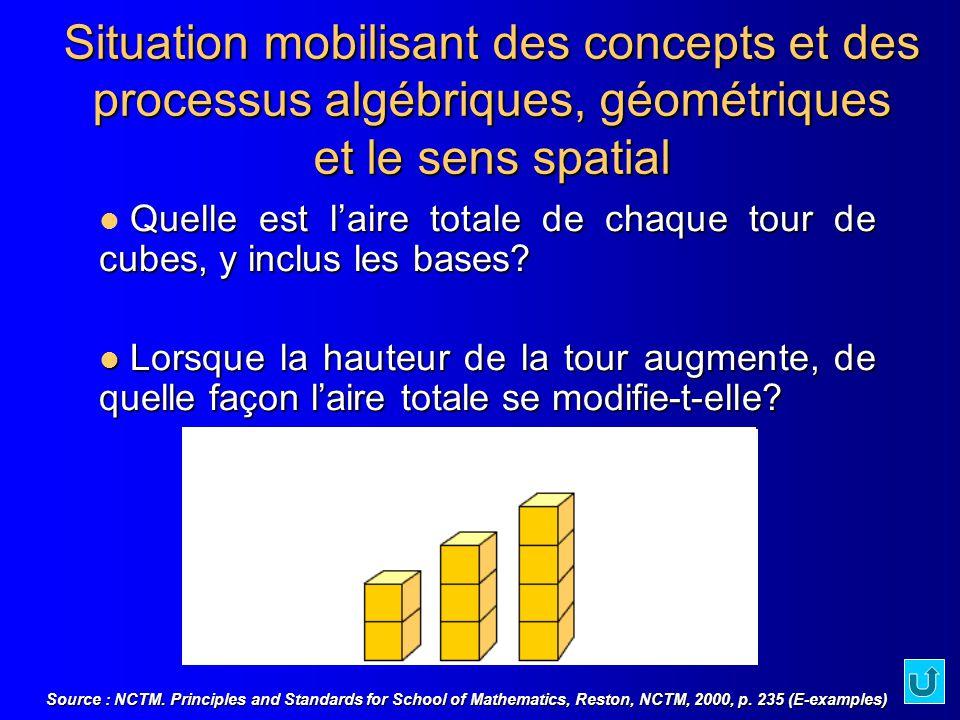Document 1.3.1 Situation mobilisant des concepts et des processus algébriques, géométriques et le sens spatial.
