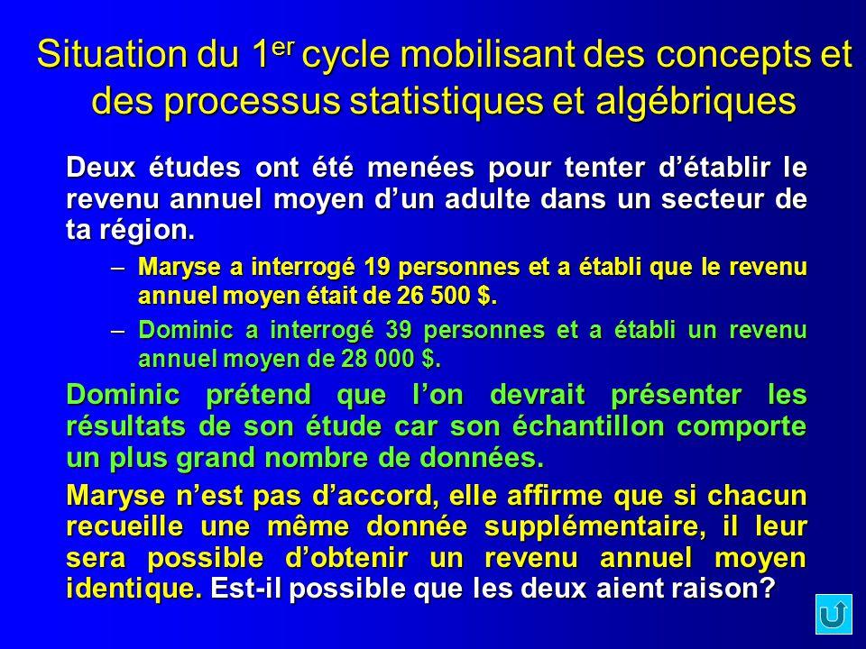 Document 1.3.1 Situation du 1er cycle mobilisant des concepts et des processus statistiques et algébriques.