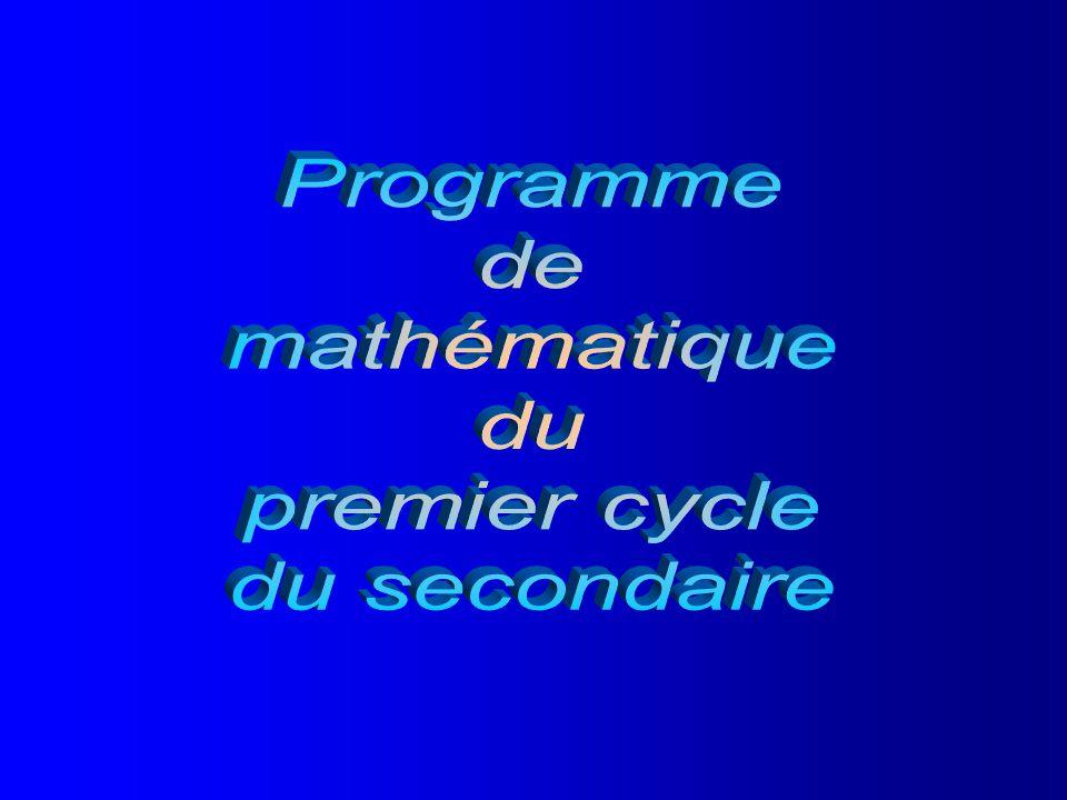 Programme de mathématique du premier cycle du secondaire