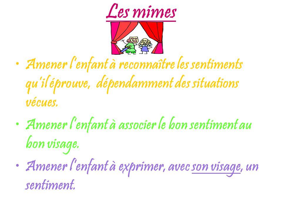 Les mimes Amener l'enfant à reconnaître les sentiments qu'il éprouve, dépendamment des situations vécues.