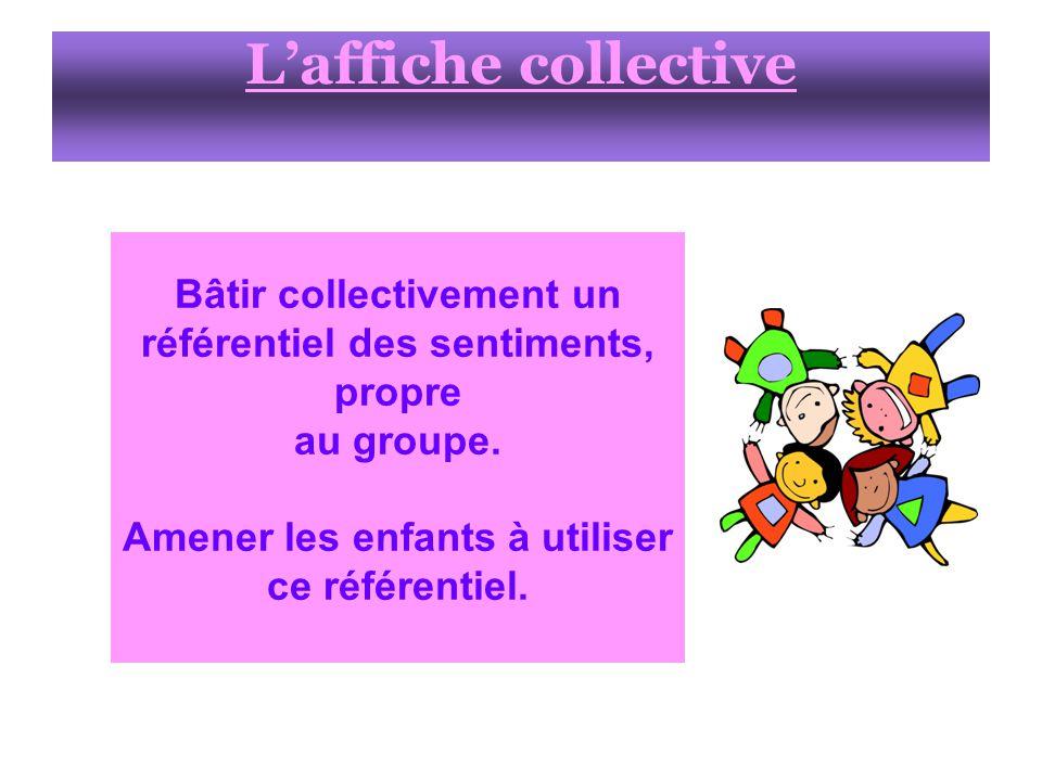 L'affiche collective Bâtir collectivement un référentiel des sentiments, propre. au groupe. Amener les enfants à utiliser.