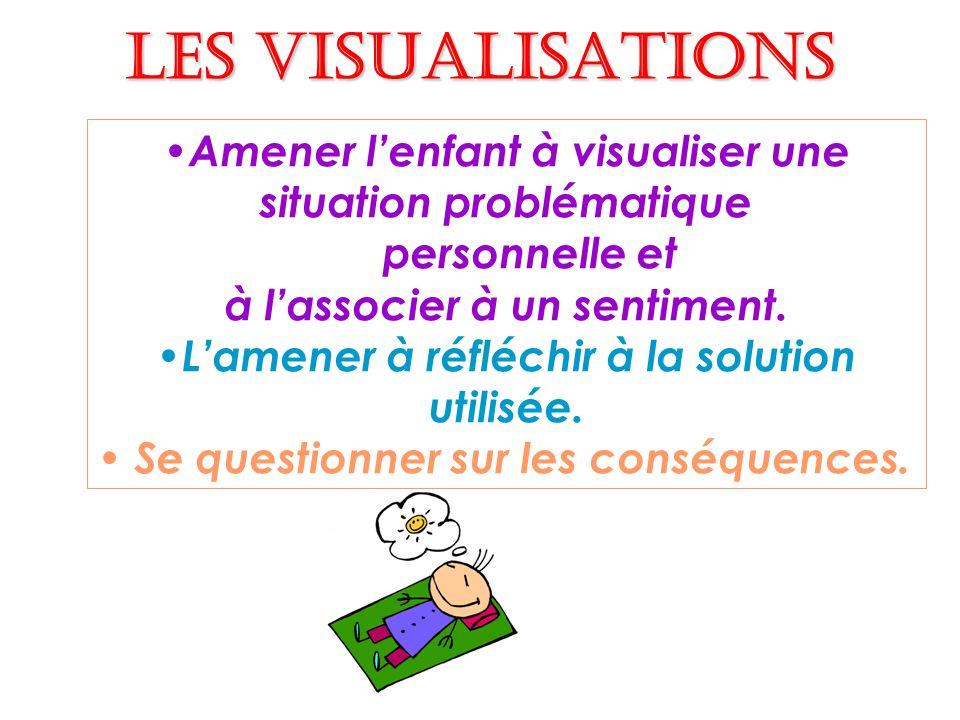 Les visualisations Amener l'enfant à visualiser une situation problématique. personnelle et. à l'associer à un sentiment.