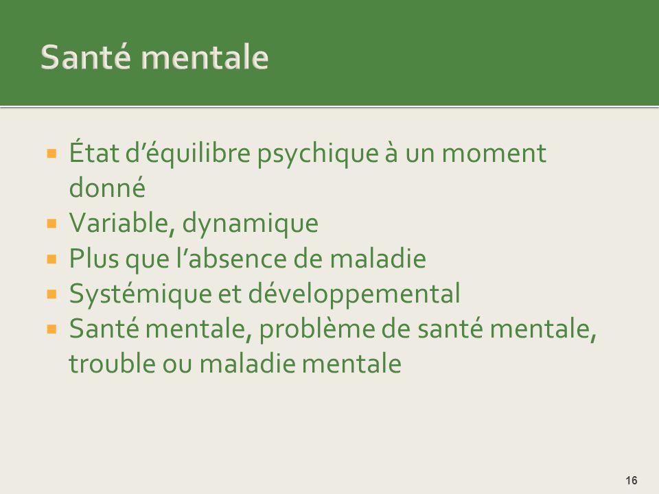 Santé mentale État d'équilibre psychique à un moment donné