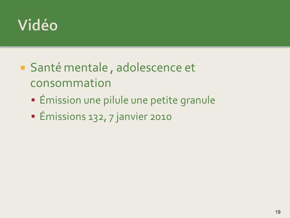 Vidéo Santé mentale , adolescence et consommation