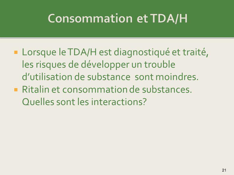 Consommation et TDA/H Lorsque le TDA/H est diagnostiqué et traité, les risques de développer un trouble d'utilisation de substance sont moindres.