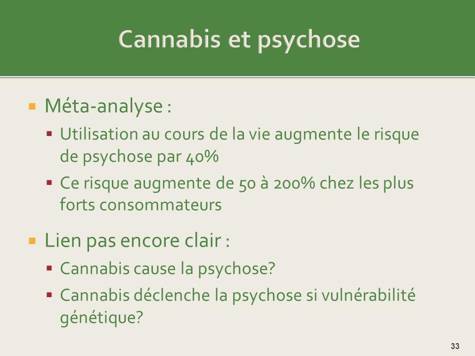 Cannabis et psychose Méta-analyse : Lien pas encore clair :
