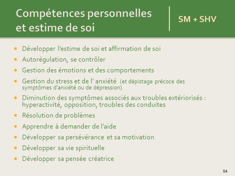 Compétences personnelles et estime de soi