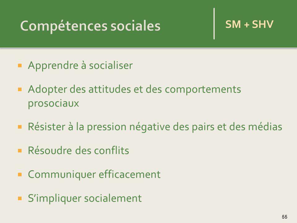 Compétences sociales SM + SHV Apprendre à socialiser