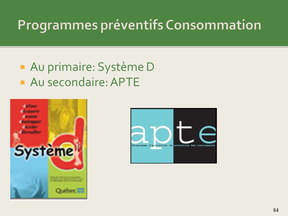 Programmes préventifs Consommation