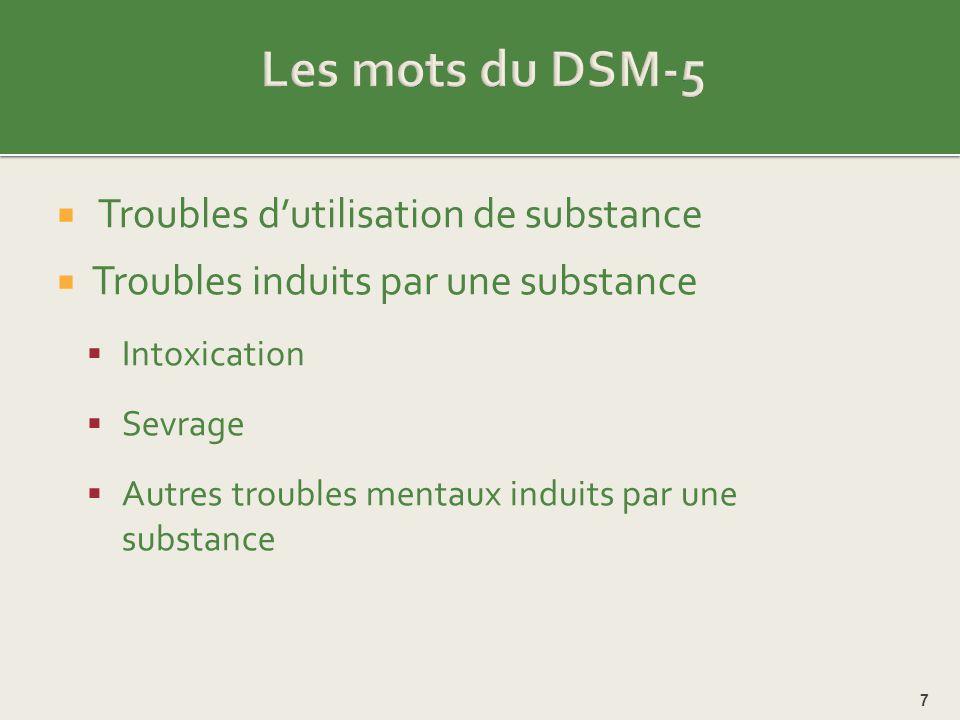 Les mots du DSM-5 Troubles d'utilisation de substance