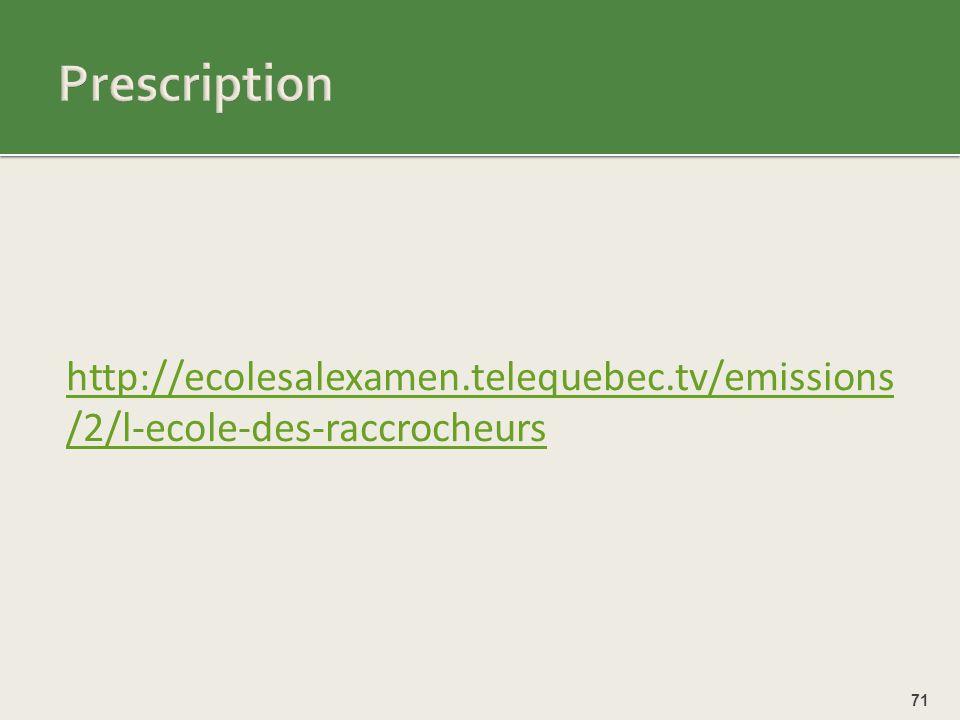 Prescription http://ecolesalexamen.telequebec.tv/emissions/2/l-ecole-des-raccrocheurs.