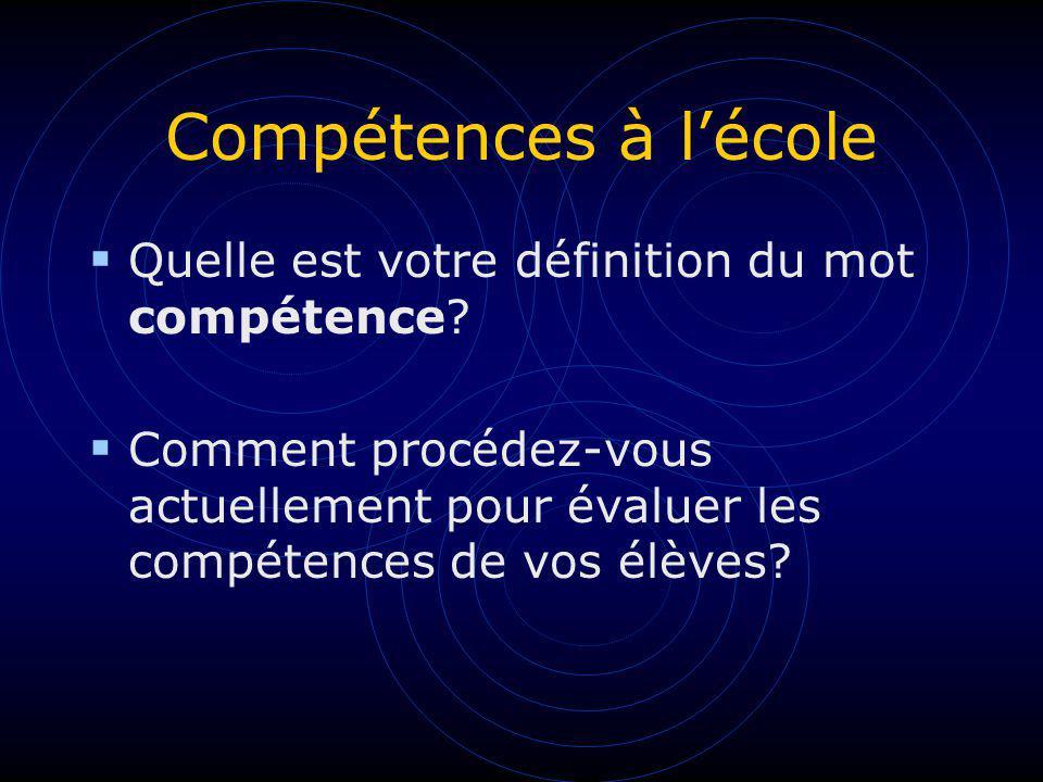 Compétences à l'école Quelle est votre définition du mot compétence