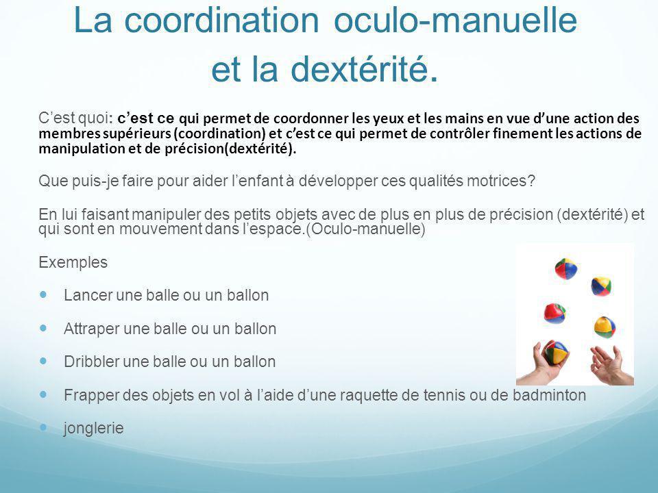 La coordination oculo-manuelle et la dextérité.